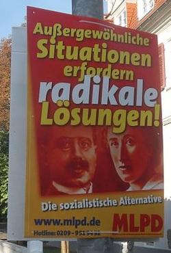Plakat der MLPD während des Bundestagswahlkampfs 2009